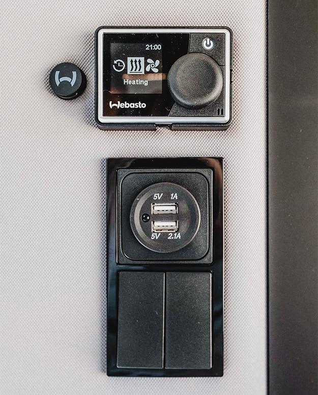 commande d'un chauffage webasto et ports usb dans un van aménagé hanroad