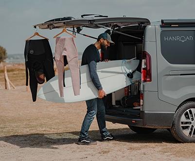 planche de surf van aménagé coffre hanroad